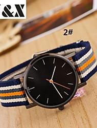 cheap -Women's Quartz Wrist Watch Hot Sale Nylon Band Fashion Stripes Multi-Colored