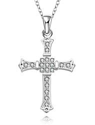 Femme Collier court /Ras-du-cou Pendentif de collier Colliers Déclaration Pendentif Forme de Croix Pierres synthétiques Argent sterling