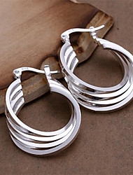 cheap -Women's Hoop Earrings - Sterling Silver Personalized, Fashion White For Wedding / Party / Daily