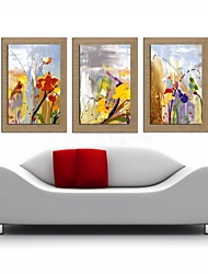 Oil Painting Decoration Abstract Landscape  Hand Painted Natural Linen with Stretched Framed - Set of 3