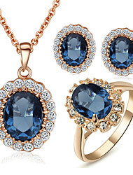 T&C Women's Elegant Cz Diamond Jewelry 18K Rose Gold Pated Blue Sapphire Crystal Pendants Necklaces Earrings Ring Sets