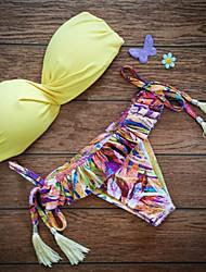 Da donna Push up Con ferretto Bikini Con nappe Tinta unita Boho,Nylon Con stampe