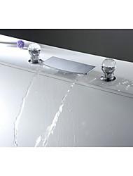 コンテンポラリー 組み合わせ式 滝状吐水タイプ セラミックバルブ 三つ 二つのハンドル三穴 クロム , バスルームのシンクの蛇口