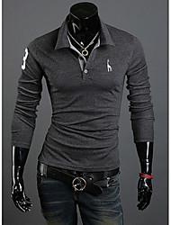 Недорогие -Муж. Чистый цвет Polo Классический и неустаревающий Однотонный / Длинный рукав