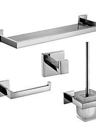 Set di accessori per il bagno Porta rotolo di carta igienica Appendi-accappatoio Mensola del bagno Portascopino Contemporaneo Acciaio