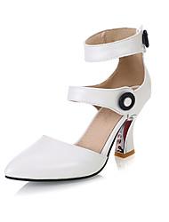 Feminino Sapatos Courino Verão Salto Agulha Tachas Para Social Branco Preto Rosa claro