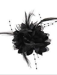 cheap -Black Feather Flower Fascinators for Wedding/Party Headpiece