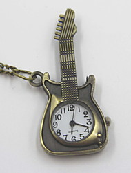 Creative Guitar Shaped Pocket Watch Sweater Necklace