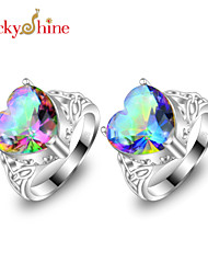 Statement Rings Silver Topaz Fashion Classic Red Blue Jewelry Party 1pc