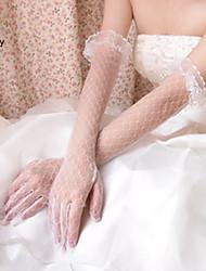 お買い得  -ポリエステル コットン ネット 手首丈 チャーム スタイリッシュ ブライダル手袋 アクリル 刺繍 ソリッド  -  グローブ
