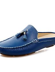 Недорогие -Муж. Кожа Весна / Лето Удобная обувь Башмаки и босоножки Черный / Коричневый / Синий / С кисточками