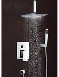 abordables -Moderne Montage mural Jet pluie Douche pluie Soupape en laiton 3 trous Mitigeur Trois trous Chrome, Robinet de douche Robinet de baignoire