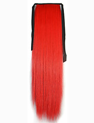 abordables -Rouge Synthetic Queue de cheval Droit (Straight) Micro Ring Hair Extensions Queue de cheval 22inch gramme Moyen (90g-120g) Quantité