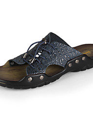 Men's Sandals Spring Summer Fall Comfort Leather Casual Flat Heel Rivet Black Dark Blue Yellow Brown
