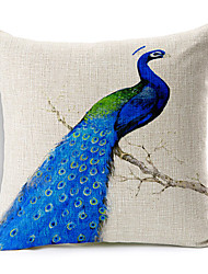 Blue Peacock Patterned Cotton/Linen Decorative Pillow Cover