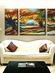 economico -pittura a olio paesaggio astratto a mano tela dipinta con allungato incorniciato - set di 3