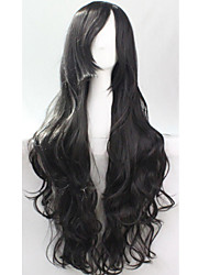 Cos Anime Bright Colored Wig Long Black Curly  Hair Wig 80 cm