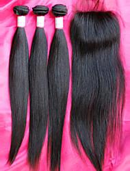 vente chaude 12-26inch brésilien vierges faisceaux de cheveux avec fermeture