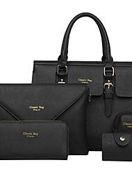 baratos -Mulheres Bolsas PU Conjuntos de saco 5 Pcs Purse Set para Compras / Formal / Escritório e Carreira Branco / Preto / Fúcsia