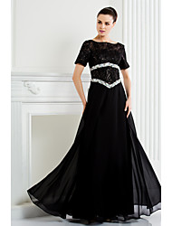 cheap -A-Line Scoop Neck Floor Length Chiffon Lace Mother of the Bride Dress with Beading by LAN TING BRIDE®