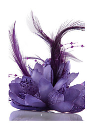 cheap -Purple Feather Flower Fascinators for Wedding/Party Headpiece