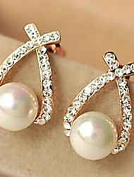 cheap -European Style Fashion Rhinestone Crossover Pearl Earrings Elegant Style