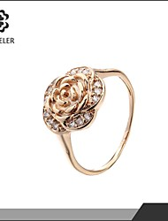 cheap -Statement Rings Fashion Zircon Cubic Zirconia Platinum Plated 18K gold Imitation Diamond Flower Rose Jewelry For Wedding Party 1pc