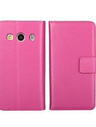 cheap -Case For Samsung Galaxy Samsung Galaxy Case Wallet / Card Holder / with Stand Full Body Cases Solid Colored PU Leather for Ace 4