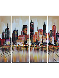 Hand-Painted Abstract Modern Brown Cityscape Oil Painting on Canvas  4pcs/set (Without Frame)