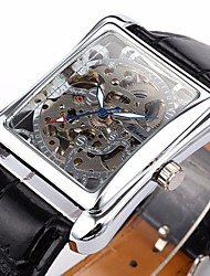 cheap -WINNER® Men's Auto-Mechanical Square Skeleton Watch PU Leather Band Wrist Watch Cool Watch Unique Watch