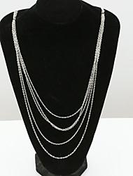 Недорогие -Жен. Кристалл Заявление ожерелья длинное ожерелье Дамы европейский Мода Позолота 18К Искусственный бриллиант Австрийские кристаллы Белый Ожерелье Бижутерия Назначение