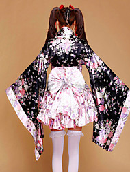 cheap -Wa Lolita Dress Traditional Satin Women's Japanese Traditional Kimono Cosplay Pink Floral Poet Sleeve Long Sleeve Short Length Halloween Costumes