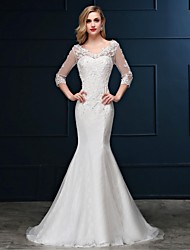 cheap -Mermaid / Trumpet V-neck Sweep / Brush Train Lace Tulle Wedding Dress with Beading by Embroidered bridal