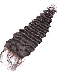 Недорогие -Натуральный чёрный (#1В) U Part Крупные кудри Человеческие волосы закрытие Умеренно-коричневый Chinese Lace грамм Размер крышки