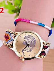 cheap -Hand knitting Band National Elephant Wind Golden Simple Dial Women Dress Watch Quartz Geneva Watch