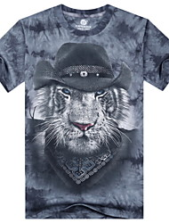 preiswerte -Informell/Bedruckt/Party/Business Rund - Kurzarm - MEN - T-Shirts (Baumwolle)