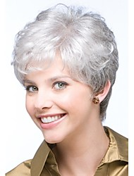 cheap -Synthetic Wig Curly Pixie Cut / With Bangs Synthetic Hair Side Part / Glueless White Wig Women's Short Capless