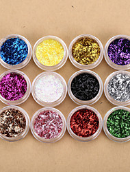 cheap -12 Colors Nail Art Glitters Foil Strip Sequins Nail Art Powder Nail Art Beads French Nail Decorations