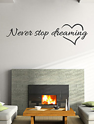 cheap -Wall Stickers Wall Decals Style Nerer Stop Dreaming English Words & Quotes PVC Wall Stickers