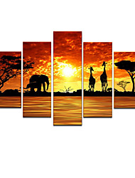 cheap -Hand-Painted Animals Any Shape, Modern Canvas Oil Painting Home Decoration Five Panels