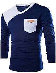economico -T-shirt Uomo Casual Monocolore Altro Manica lunga-Nero / Blu / Bianco