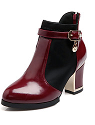cheap -Women's Shoes Patent Leather Chunky Heel Fashion Boots/Round Toe Boots Office & Career/Dress/Casual Black/White/Burgundy