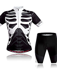 cheap -WOSAWE Short Sleeves Cycling Jersey with Shorts - Black/White Skull Bike Clothing Suits, Quick Dry, Breathable, Sweat-wicking