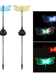 cheap -Pack of 2 Solar Fiber Optic Color-Changing Dragonfly Garden Stake Light Landscape Lighting Pathway Stairway