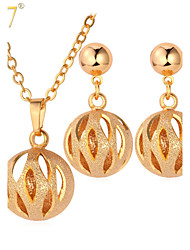 U7® Women's Cute Hollow Ball Drop Earrings 18K Gold Plated Simple Pendant Necklace Earrings Set
