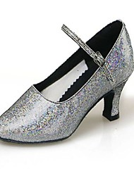 cheap -Women's Children's Modern Sparkling Glitter Synthetic High Heel Indoor Professional Practice Buckle Cuban Heel Burgundy Black Silver Gold