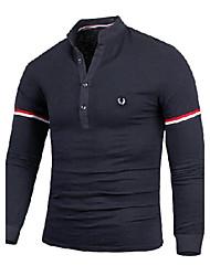 voordelige -Vintage/Informeel/Feest/Zakelijk MEN - T-shirts (Katoen/Rayon)met Lange Mouw