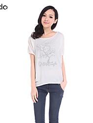 Tee-shirt Aux femmes,Imprimé Décontracté / Quotidien simple Eté Manches Courtes Col Arrondi Bleu / Rouge / Blanc / Gris / Jaune Coton Fin