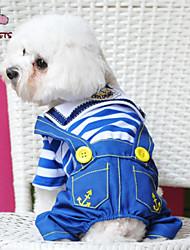 billige -Hund Jumpsuits Hundetøj Jeans Rød Blå Bomuld Kostume For kæledyr Herre Sødt Mode