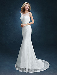 Mermaid / Trumpet Illusion Neckline Sweep / Brush Train Lace Wedding Dress with Appliques Sash / Ribbon by LAN TING BRIDE®